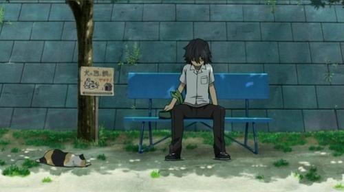 じんたんが座っていたベンチのアニメ