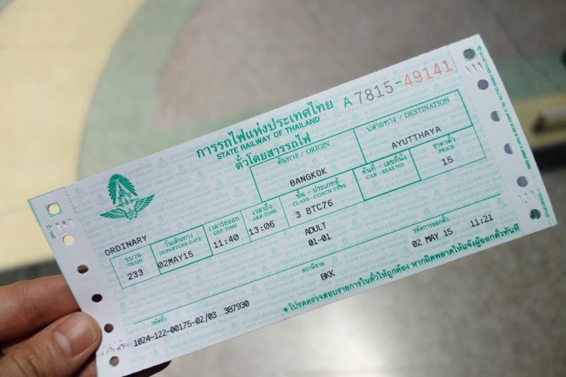 タイ国鉄のチケット
