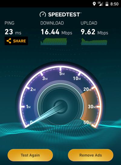 シェムリアップのSIMカードの通信速度(LTE)