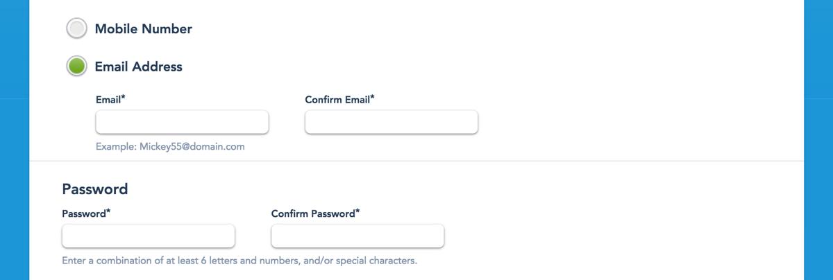 メールアドレス、電話番号、パスワード
