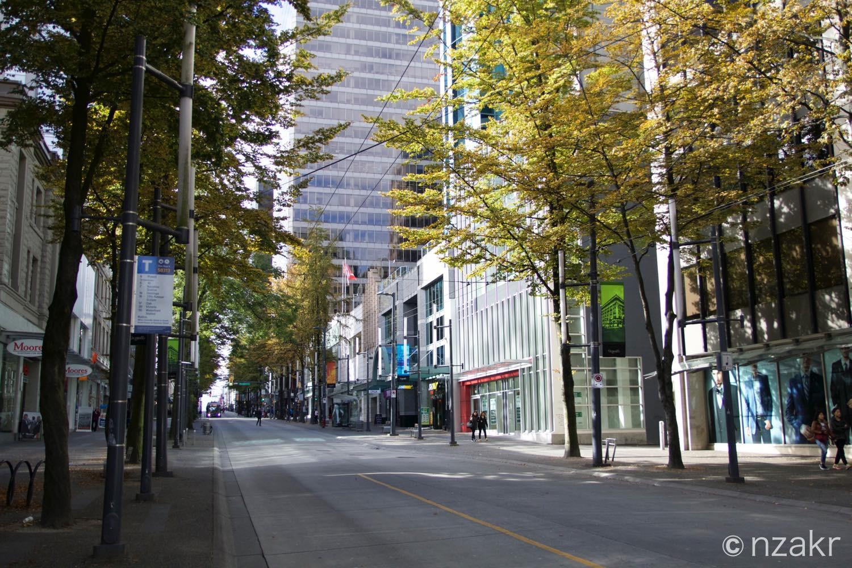 カナダ バンクーバーのダウンタウンの街並み
