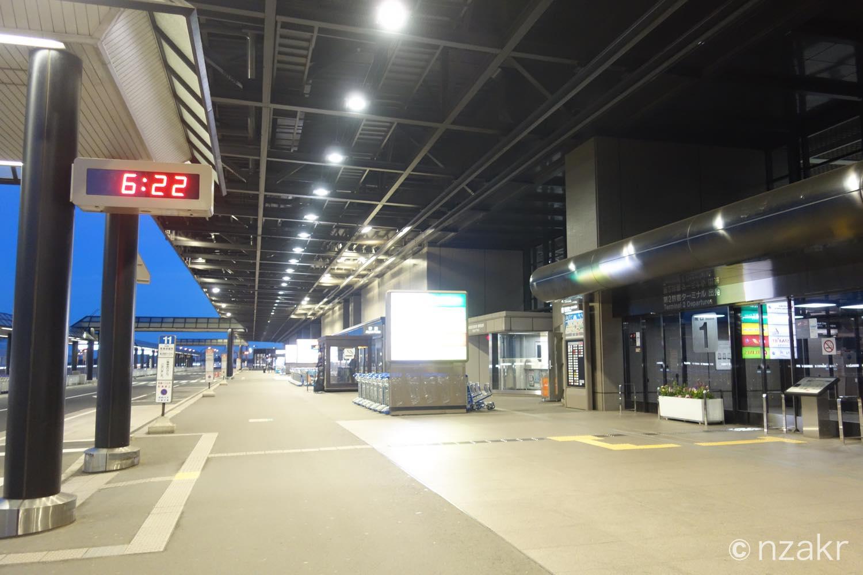 朝の成田空港の玄関