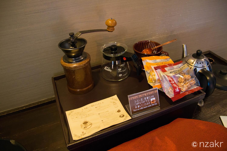 ウェルカムサービスのコーヒーとポップコーン