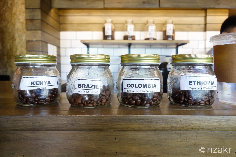コーヒーの豆(ブラジル、ケニア、エチオピア、コロンビア)