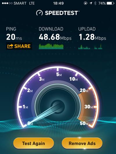 セブシティ内の通信速度