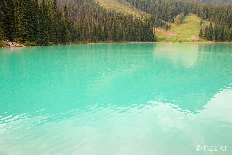水の色は綺麗なエメラルドグリーン