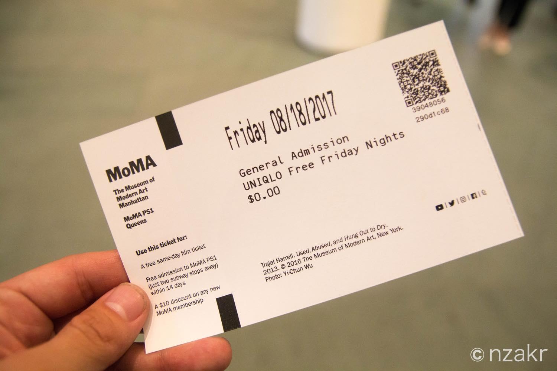 MOMAの入館券 UNIQLO Free Friday Nights