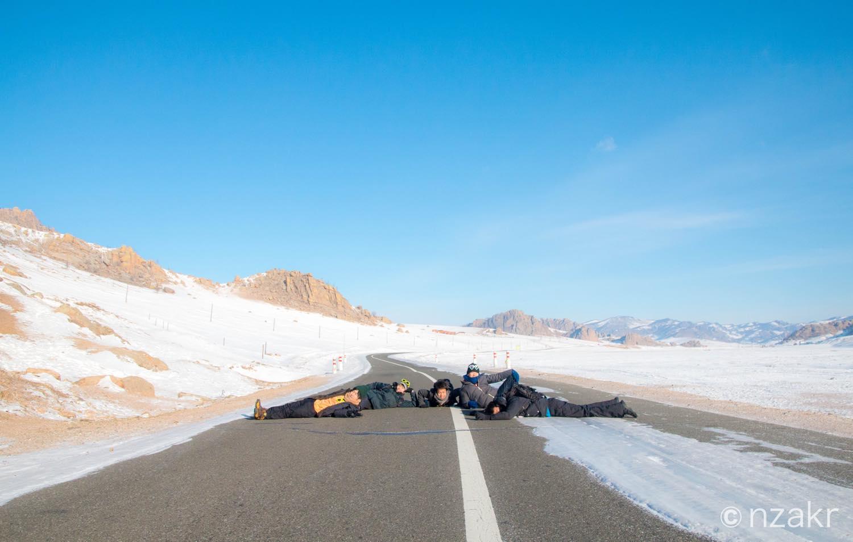モンゴルのフォトジェニックな道路