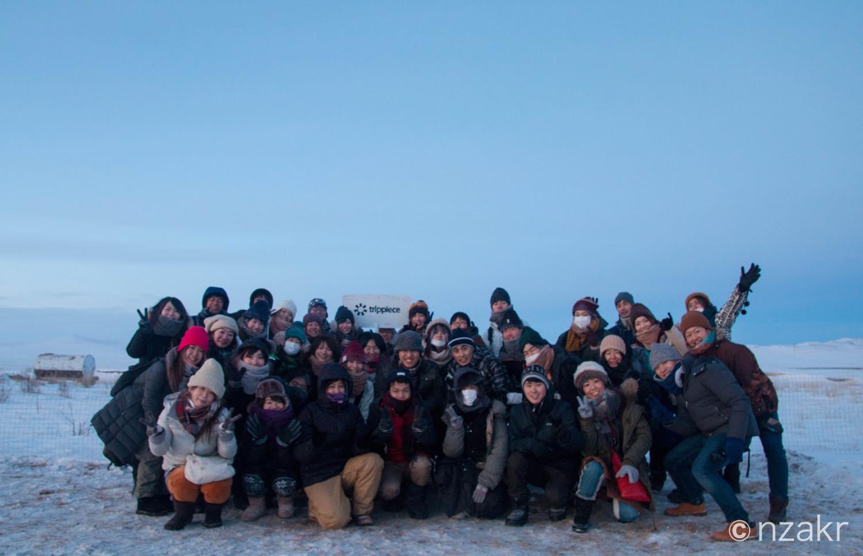 雪原で集合写真