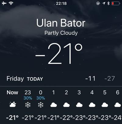 冬のモンゴルの気温