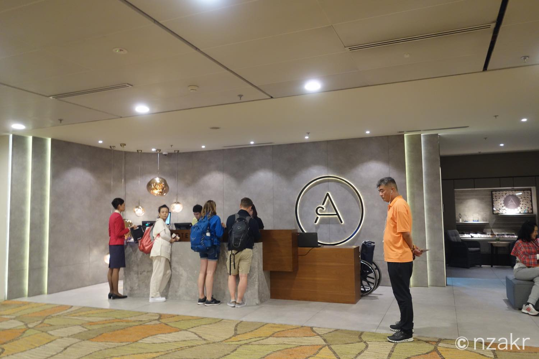 アエロテルホテルのチェックインカウンター